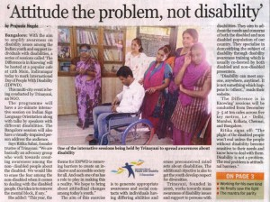 Attitude the problem not disability, The Indian Express