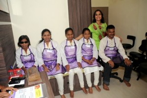 Ritika Sahni with Sachin, Sangita, Bhagyashree, Sangeeta and Meera, our trained blind reflexologists