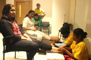 Therapists from the Sparsh Foot Spa at L'Oreal, Lower Parel