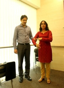 Ritika demonstrating Disability Etiquette when assisting a blind person